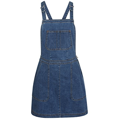 TTC Womens Ladies Denim Dungaree Skirt Stretch Dungaree Pinafore-Holly