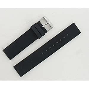 Bracelet de montre en silicone Rubber 20mm noir - Noir-01, 20 mm