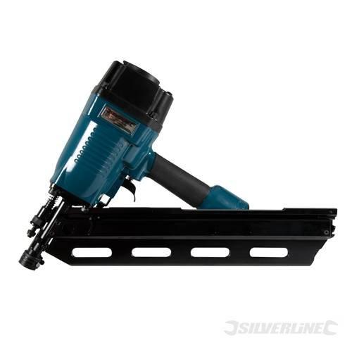 Nailers Air Tools Air framing Streifennagler 90 mm 2,87 mm - 3,33 mm dia Leistungsstarker Streifennagler für 50-90 mm, verpackt in 34° -Stellung Nägel. akzeptiert nail Schaft dia von 2,87 mm 3,33 Mm-Magazinkapazität: 2 x 40 Stück, Stück. Cut out verhindert leer firing. leichtem magnesium Gehäuse eindringen der Tiefe verstellbar, für Dach, Zäunen, Terrassen und flooring. No mar Spitze schützt die Arbeitsfläche.