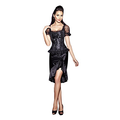 XIONGMEOW Donna Corsetto Lingerie Overbust Meist Training Retro Pizzo Bishop Sleeve Shapewear Plus Size black