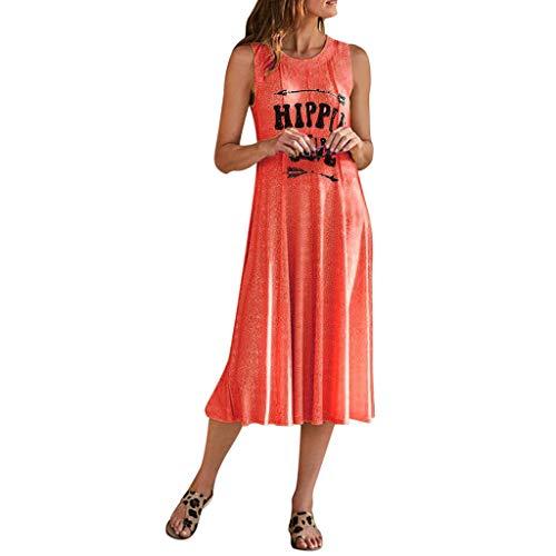 Wawer, modisches Damen-Kleid, bedruckt, mit V-Ausschnitt s Orange -