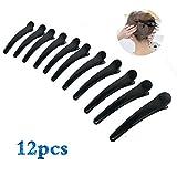Clip da parrucchiere in plastica nera brillante a forma di bolletta d'anatra clip di lavaggio pratico clip per capelli accessori (12 pezzi)
