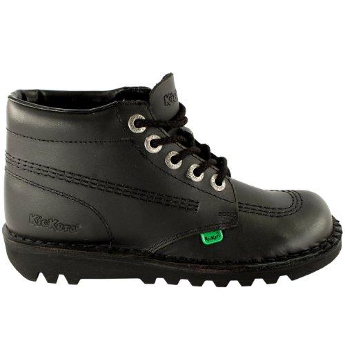 Hommes Kickers Kick Hi Cuir Classique Bureau Travail Bottes Chaussures Noir/Noir