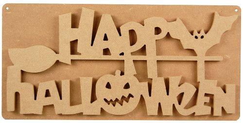Country Love Crafts Holzschild, Aufschrift Happy Halloween, zum Selbstgestalten, Hellbraun