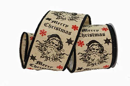 Renaissance 2000 Schleifenband mit Weihnachtsmann-Motiv, 10,2 cm, Baumwolle, Mehrfarbig -
