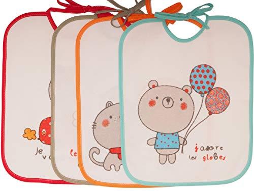 Ti TIN Pack 4 Baberos Impermeables para Bebé 73% algodón - 27% poliéster | Lote de 4 Baberos para Bebés de 6 a 18 Meses con Cierre con Cintas, 23x28 cm