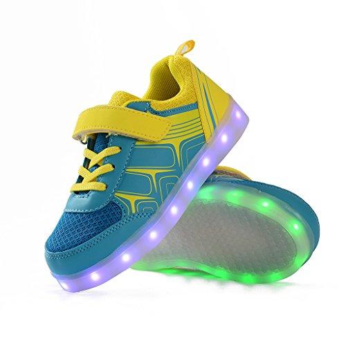 DoGeek Unisex Bambino Scarpe Con Luci Scarpe Led Luminosi Sneakers Con Luce Nella Suola Bright Tennis Shoes USB 7 Colori Lampeggiante Trainners Giallo