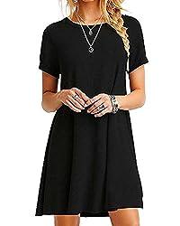 YOINS Sommerkleid Damen Tunika Tshirt Kleid Bluse Kurzarm MiniKleid Boho Maxikleid Rundhals ,Schwarz,UK 14-16, CN L