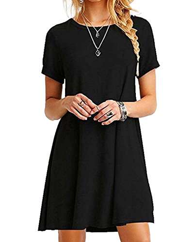 YOINS Sommerkleid Damen Tunika Tshirt Kleid Bluse Kurzarm MiniKleid Boho Maxikleid Rundhals Schwarz EU32-34, S