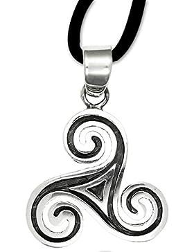 Anhänger keltische Triskele Dreierwirbel 925er Sterling Silber Schmuck Amulett Schutzamulett mit Lederhalsband 20