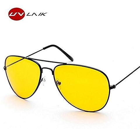 UVLAIK Fahrerbrille Nacht Fahren Sonnenbrille Männer Frauen UV400 Schattierungen Pilot Sonnenbrille Männlich-weibliche Nachtsicht Goggle Sonnenbrille (Schwarz)