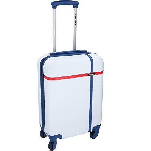 JEMIDI Handgepäck Trolley - 31 Liter in tollen Trendfarben!!! Boardcase Reise Koffer Hartschale Cabin Bordgepäck Bag Bord (Schwarz / Grau) Weiss/ Blau