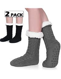 Tacobear 2 Pairs Women Fluffy Socks Slipper Socks Super Soft Fuzzy Socks Winter Warm Snowflake Fleece Lined Crew Home Socks for women and girls