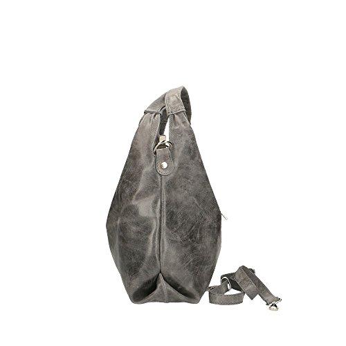 CTM Sac bandoulire femme imprimé effet avec sangle, en cuir véritable fait en Italie 46x26x10 Cm gris