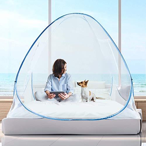 Moskitonetz,Schutz vor Insekten Netz,Pop Up Faltbare doppelte Tür Bett Baldachin, Anti Mosquito Bites (Blau, W120 * L200 * H150cm) -