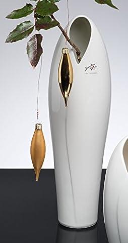Porcelain vase Amaryllis round white 10,5 cm hoch Ø 36 cm by Sandra Rich