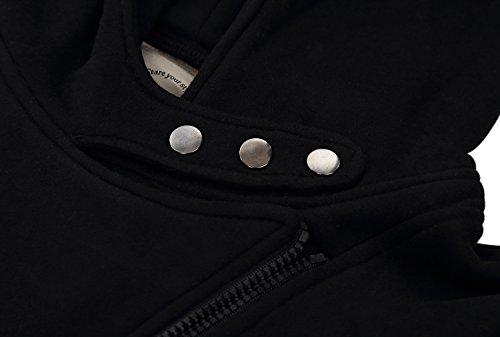 DJT - Felpa con cappuccio chiusura a cerniera asimmetrica - Donna Nero Small