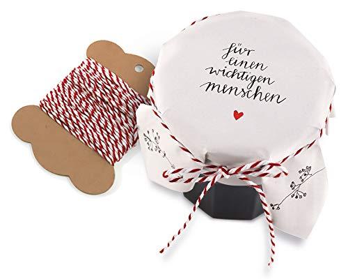 25 Marmeladendeckchen Weiß, Abreißblock mit Kalligrafie Spruch - für einen wichtigen Menschen - und Blumen, florale Gläserdeckchen zum selbst beschriften für Eingemachtes & selbstgemachte Marmelade, Recyclingpapier + 10 m Bakers Twine & Justiergummi