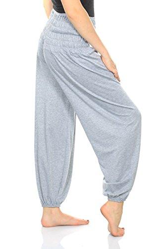 Damen Yoga Pant 19 Farben Haremshose Pumphose Pluderhose bequem Einheitsgröße S - XXL, Farbe:hellgrau