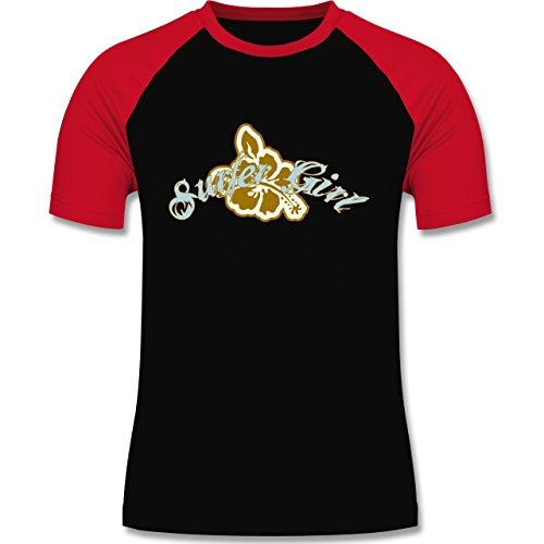Wassersport - Surfer Girl - zweifarbiges Baseballshirt für Männer Schwarz/Rot