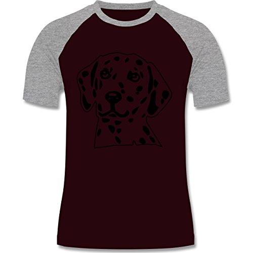 Hunde - Dalmatiner - zweifarbiges Baseballshirt für Männer Burgundrot/Grau meliert