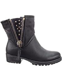 Sopily - Chaussure Mode Bottine Motard Montante femmes clouté Fermeture Zip  Talon bloc 4 cm - dfd0a236be14