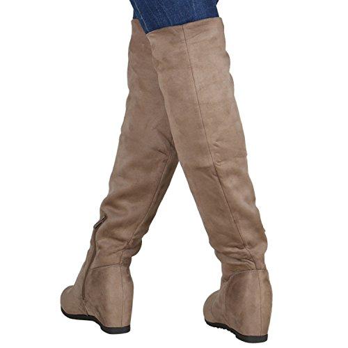 Gefütterte Damen Stiefel Overknees Keilabsatz Boots 76960 Taupe