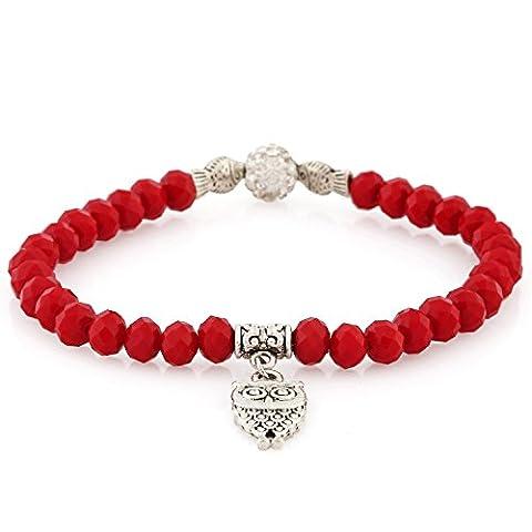 Morella Bracelet femme avec perles facettées en verre et hibou et zircons élastique rouge
