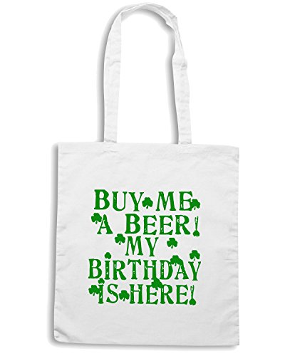 T-Shirtshock - Borsa Shopping TIR0017 buy me a beer irish birthday light tshirt Bianco