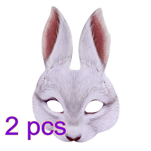 Amosfun Kaninchen Halbe Gesichtsmaske Hasen Ohr Maske für Ostern Karneval Party Kaninchen Kostüm 2 Stück (Weiß)