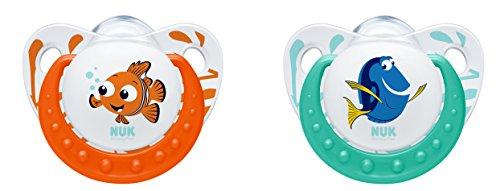 Finding Dory Trendline Silikon-Schnuller, 0-6 Monate, kiefergerecht, BPA frei, 2 Stück, orange / minze ()