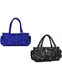 SALEBOX Fashions Women Three Buckle Leather Hand Bag (Blue & Black) Pack Of Two Combo