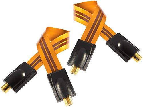 Poppstar 2x 28cm SAT Fensterdurchführung, Türdurchführung für Koax Kabel Kupplung (F-Stecker), sehr flach (0,2mm) für Fenster und Türen, vergoldete Kontakte, orange