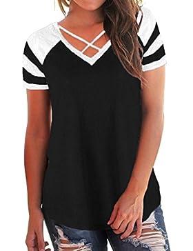 CICIYONER Camiseta con cuello en V y remiendo de manga corta casual