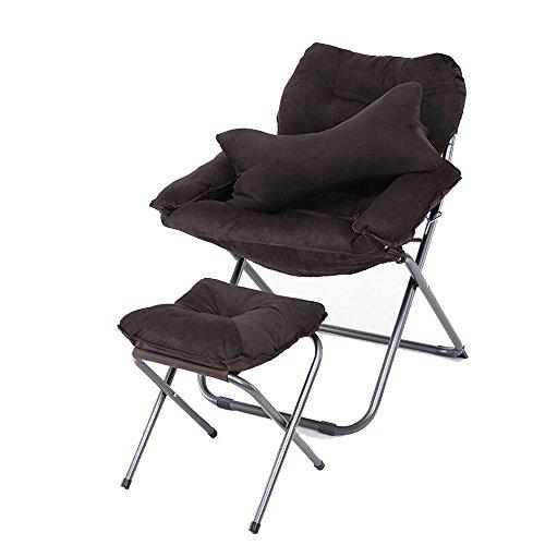 Stühle Recliners Cloth Art Klappstuhl Sofa Dreiteilige Mittagspause Wohnzimmer Balkon Farbe Optional Waschbar (Farbe : Kaffee - Farbe)