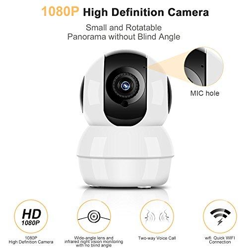1080P Überwachungskameras Nachtsicht Überwachung 2 Megapixel Pflege Haustier Aufenthalt Guardian Kamera Überwachungskamera Wireless mit iPad iPhone Android Allgemeine Gerät Kompatibel, Weiß