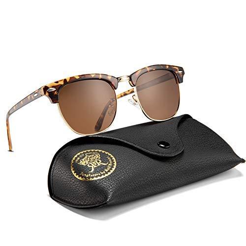 Rocf Rossini sonnenbrille polarisiert herren damen Retro Vintage klassisch Halber Rahmen Männer Frauen Anti Reflexion UV400 (Schildkröte/Tee)