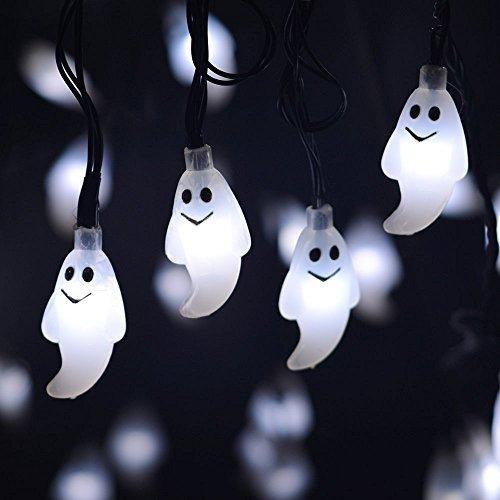 Guirlande Lumineuse Solaire 20 LED Halloween Décoration Solaire Fée Lumière de Cordon pour extérieur Patio Noël Pathway Jardin Party (Blanc)