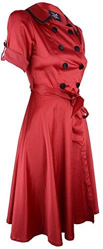 Küstenluder ELAINE 50s Trenchcoat Button Swing Dress / KLEID Rockabilly Rot