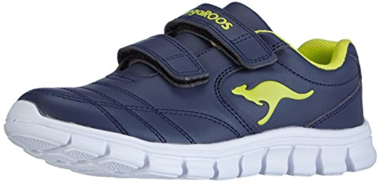 Kangaroos Bluerun 2081, Unisex Kids' Low-Top Trainer, Blue (dk navy/lime 481), 1 UK (33 EU)