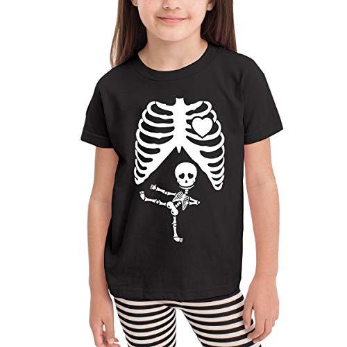 Halloween Schwangere Skelett Jungen Mädchen Kind Kurzarm T-Shirt Sport Baseball Tees(5/6 T,Schwarz) (Halloween Printables Skelett)