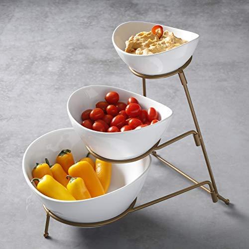 Ovale Dip-set (Gibson 3-stöckiges Ovales Chip- und Dip-Set mit Metallregal, dreistöckiges Dessert- und Snack-Servierer, Golddraht gold)