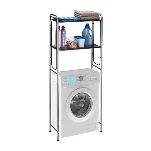 Relaxdays Überbauregal Waschmaschine, WC-Regal mit 2 Ablagen, Waschmaschinenregal HBT 151 x 65 x 28 cm, Chrom/schwarz