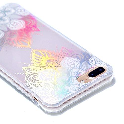 Apple iPhone 7 Plus 5.5 Hülle, Voguecase Schutzhülle / Case / Cover / Hülle / Plating TPU Gel Skin (Schwarz-Bunt Durchstochen 09) + Gratis Universal Eingabestift Transparente-Bunt Durchstochen 08