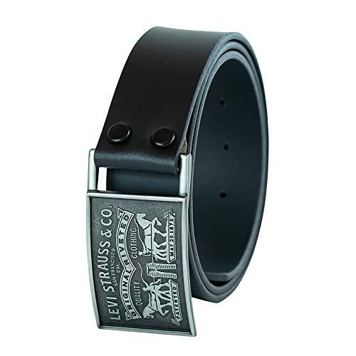 Levi's Cintura da uomo,3,8 cm, con placca, con chiusura a scatto Nero Black