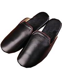 YOXI UK - Zapatillas de estar por casa de piel auténtica para hombre
