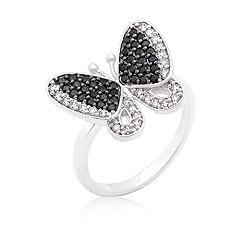 Rhodinierter Schmetterlingsring schwarze und klare Cubic Zirkonia Pavé-Fassung poliert silber