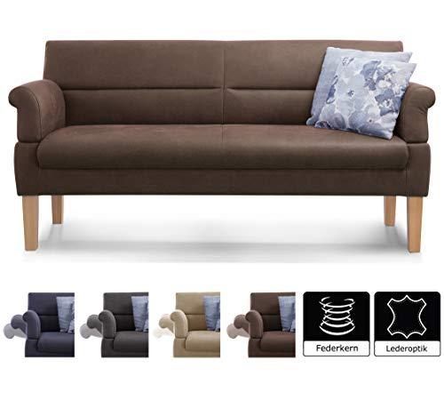 2-sitzer-leder Sitzbank (Cavadore 3-Sitzer Sofa Kira mit Federkern / Sitzbank für Küche, Esszimmer / Inkl. Armteilfunktion / 189 x 94 x 81 / Kunstleder braun)