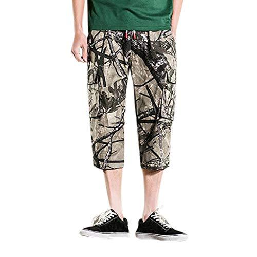 Hahuha Herrenhosen,Men es Summer Camouflage Printing Loose Belt Drawstring 3/4 Hos-Hosen