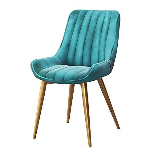 LLYU Nordische Moderne und unbedeutende kreative Freizeit-Stühle mit Rückenlehne, die Stuhl-Restaurantcafé Computer-Bürostuhl speist (Color : Blue) -